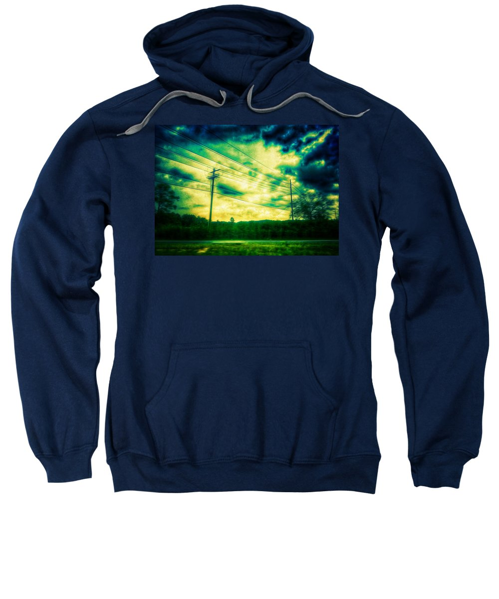 Powerlines Sweatshirt featuring the photograph Electric Wires Across The Land by Kevin Goss