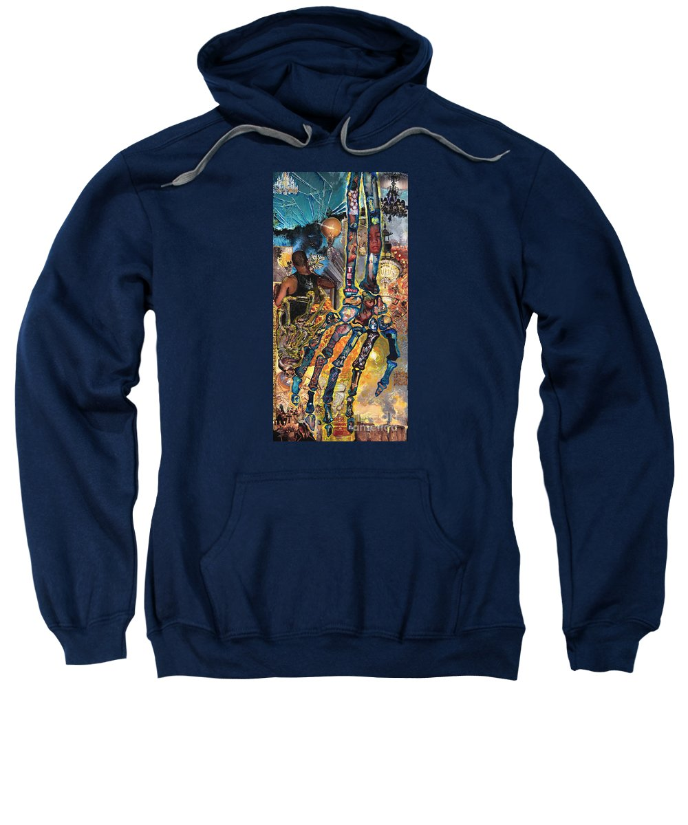 Human Sweatshirt featuring the painting Electricity Hand La Mano Poderosa by Emily McLaughlin
