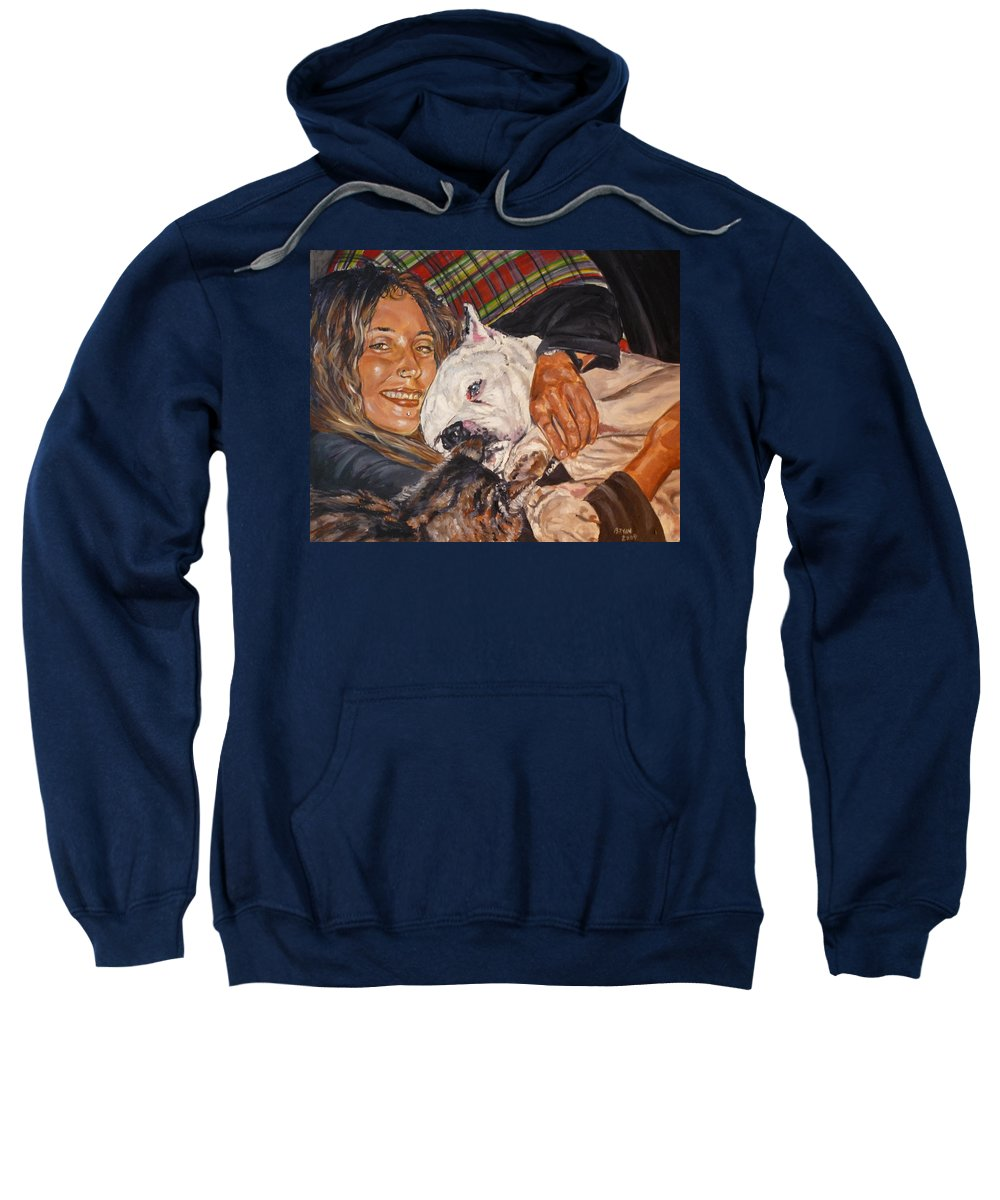 Pet Sweatshirt featuring the painting Elvis And Friend by Bryan Bustard