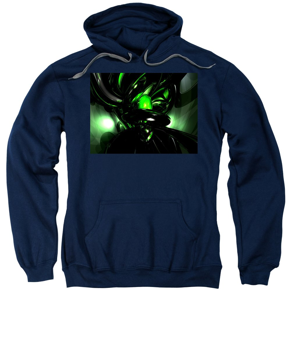 3d Sweatshirt featuring the digital art Emerald Nigthmares Abstract by Alexander Butler