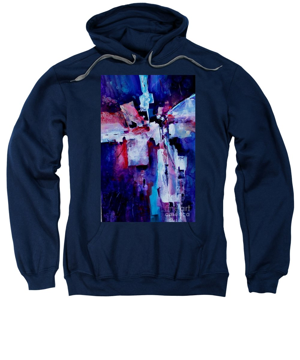 Abstract Expressionism Sweatshirt featuring the painting Emerging Spirit by Donna Frost