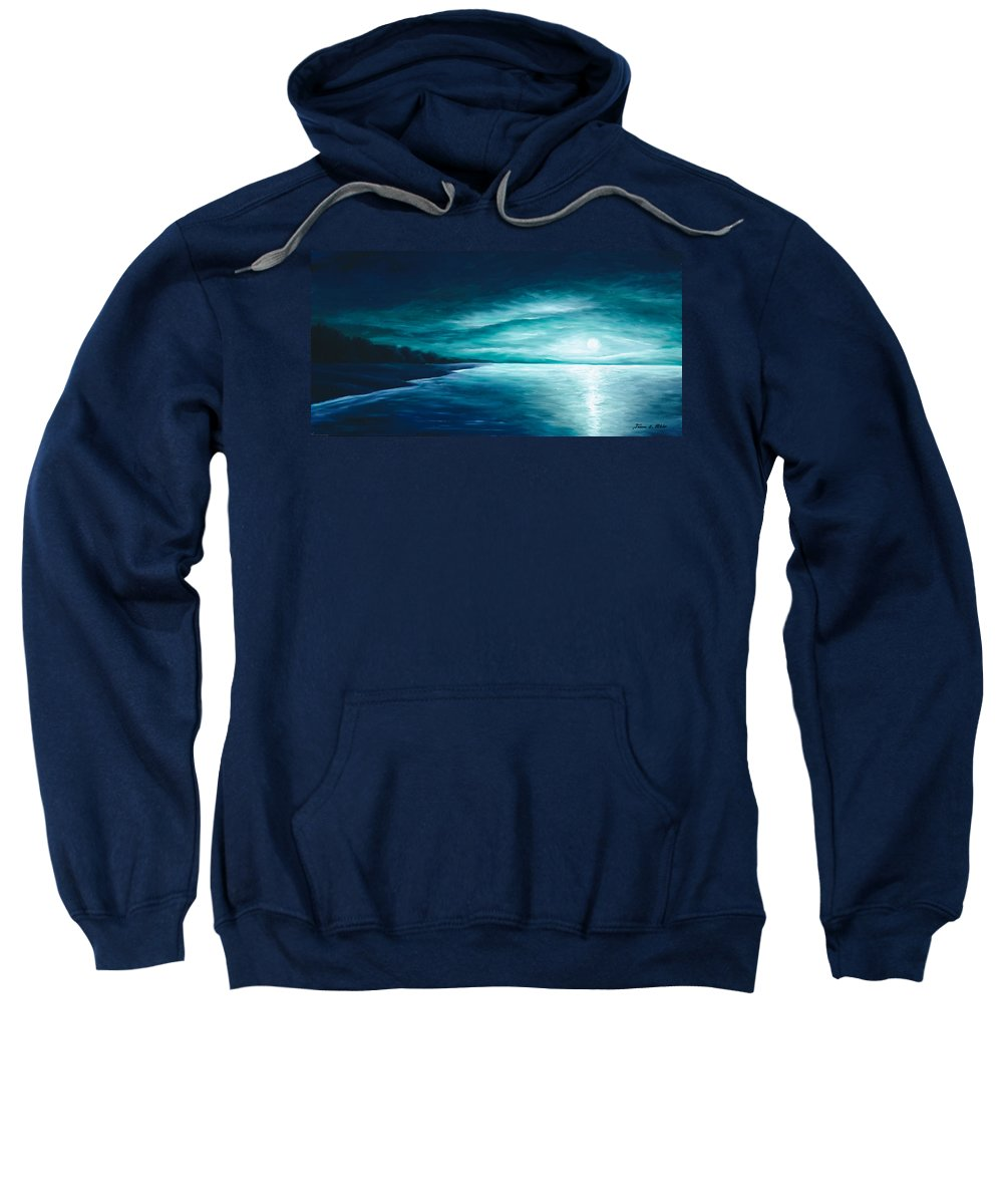 Moonscape Sweatshirt featuring the painting Enchanted Moon I by James Christopher Hill