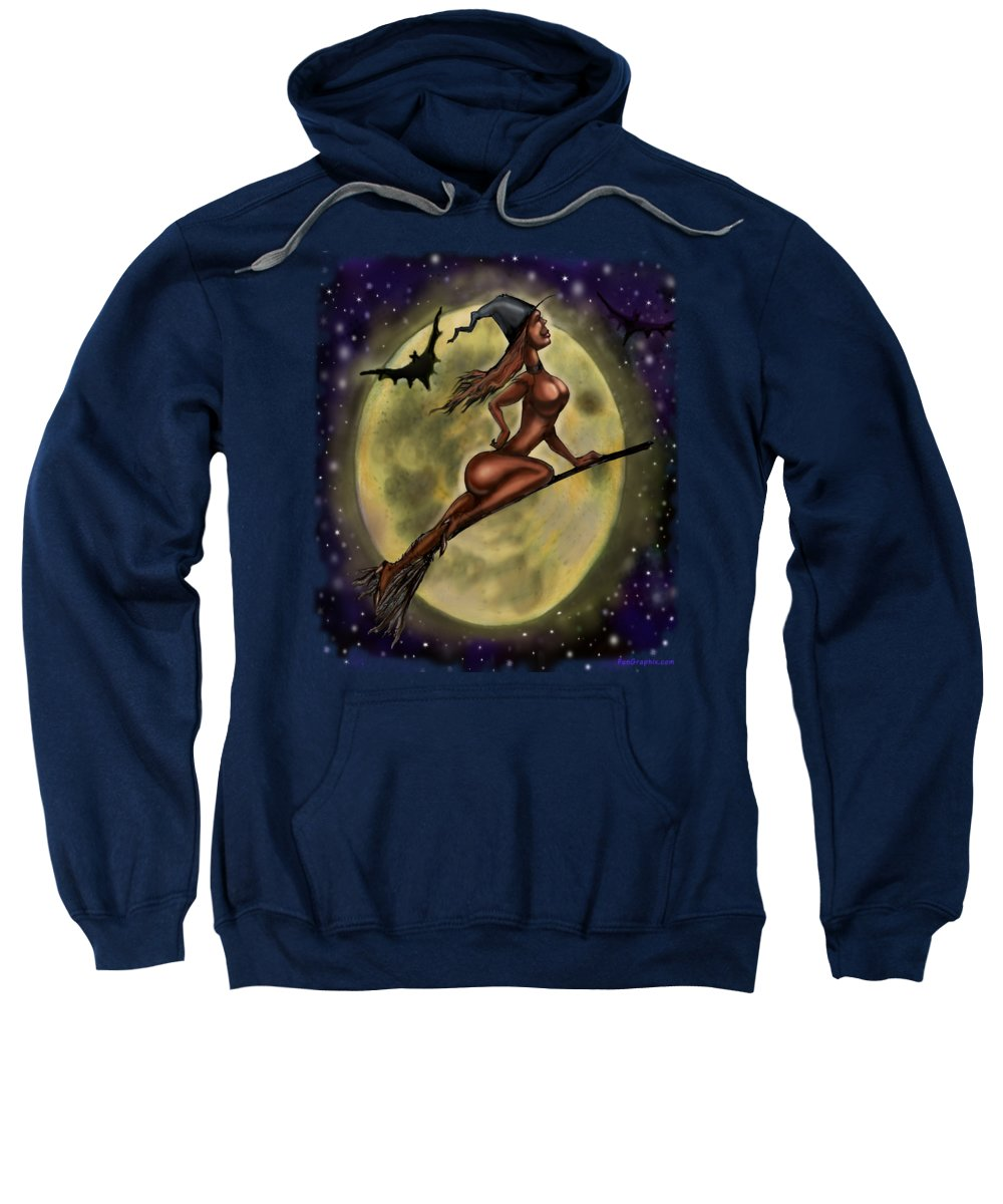 Halloween Sweatshirt featuring the digital art Enchanting Halloween Witch by Kevin Middleton