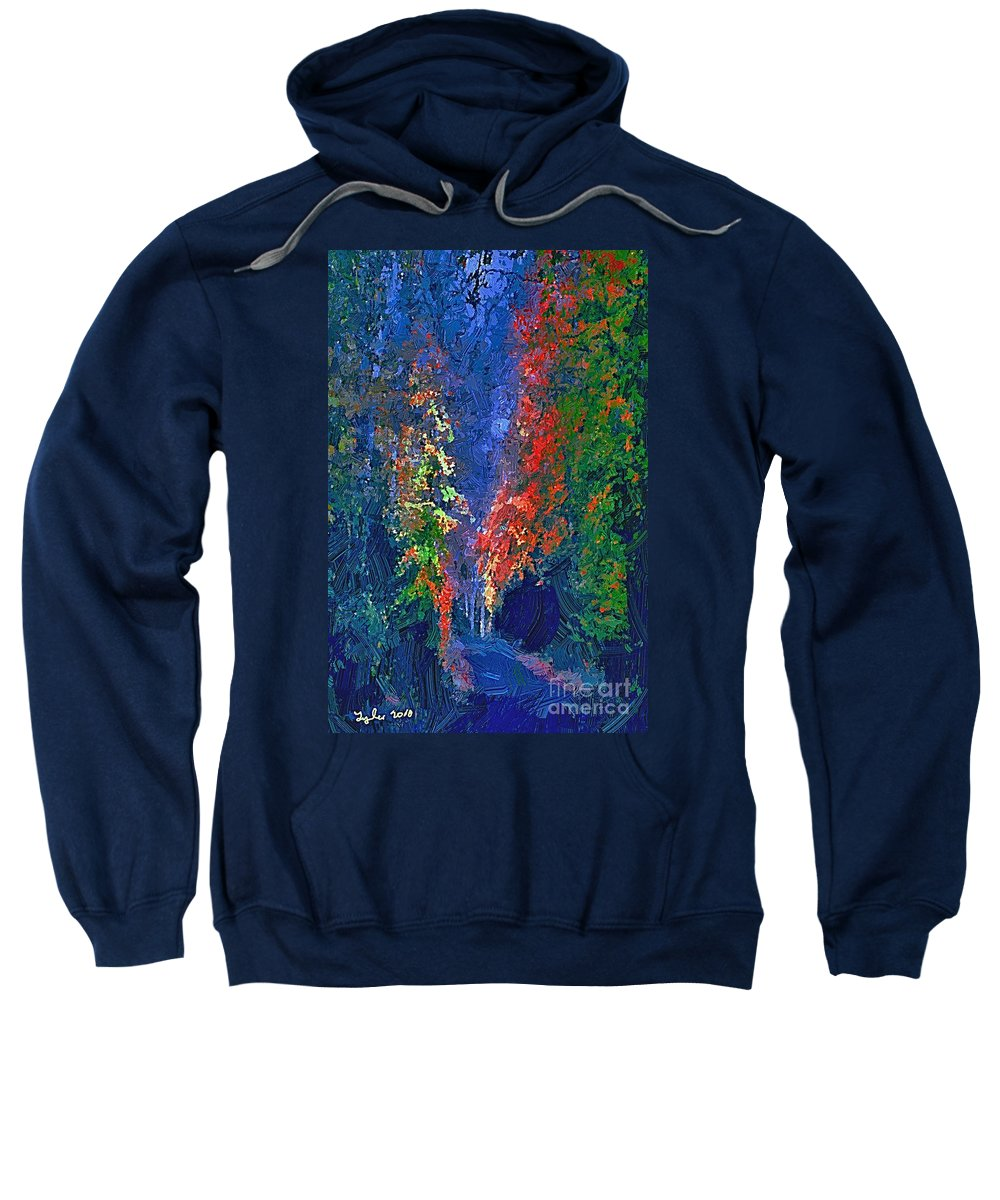 Country Sweatshirt featuring the painting English Country Lane At Night 1d by B W Tyler