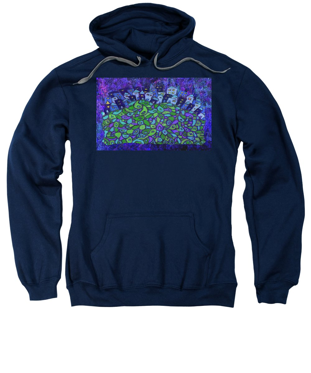 City Scene Sweatshirt featuring the painting Enhanced Blue City On A Hill by Wayne Potrafka