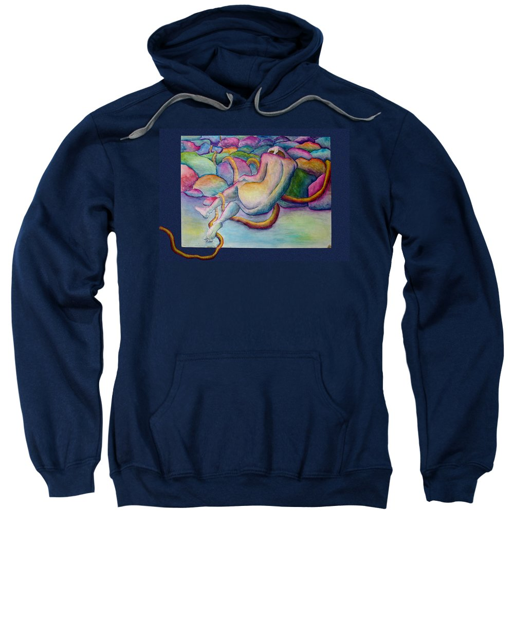 Figure Sweatshirt featuring the painting Entangled Figure With Rocks by Nancy Mueller