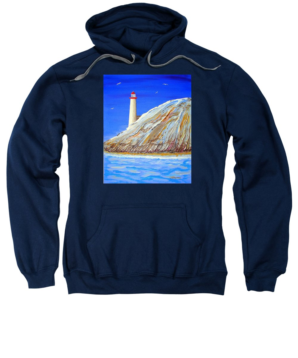 Lighthouse Sweatshirt featuring the painting Entering The Harbor by J R Seymour