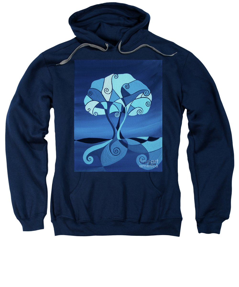 Blue Tree Paintings Sweatshirt featuring the painting Enveloped In Blue by Barbara Rush
