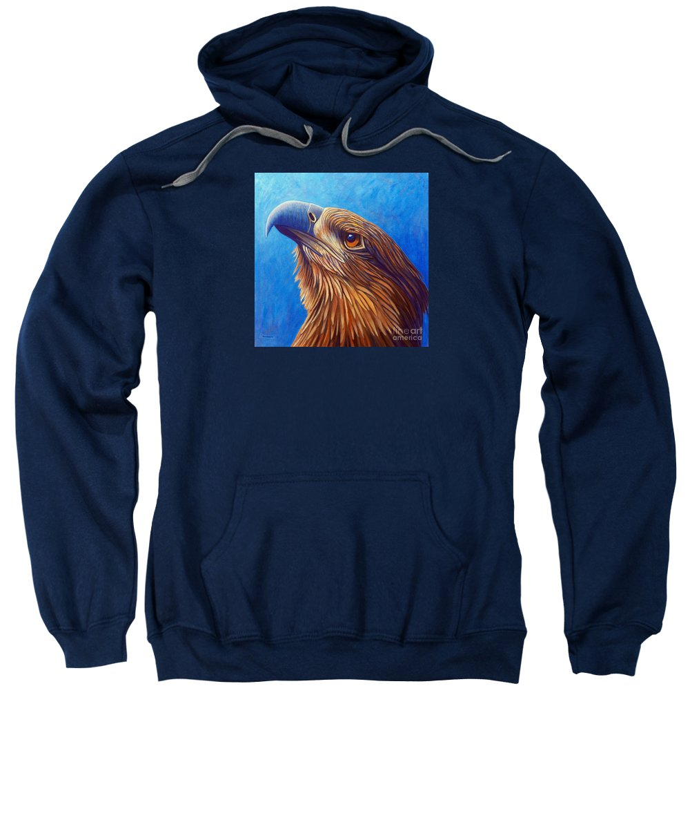 Eagle Sweatshirt featuring the painting The Eternal Quest by Brian Commerford
