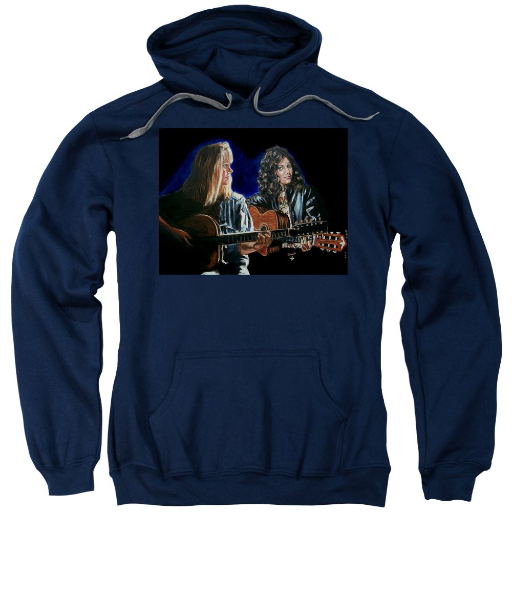 Katie Melua Sweatshirt featuring the painting Eva Cassidy And Katie Melua by Bryan Bustard