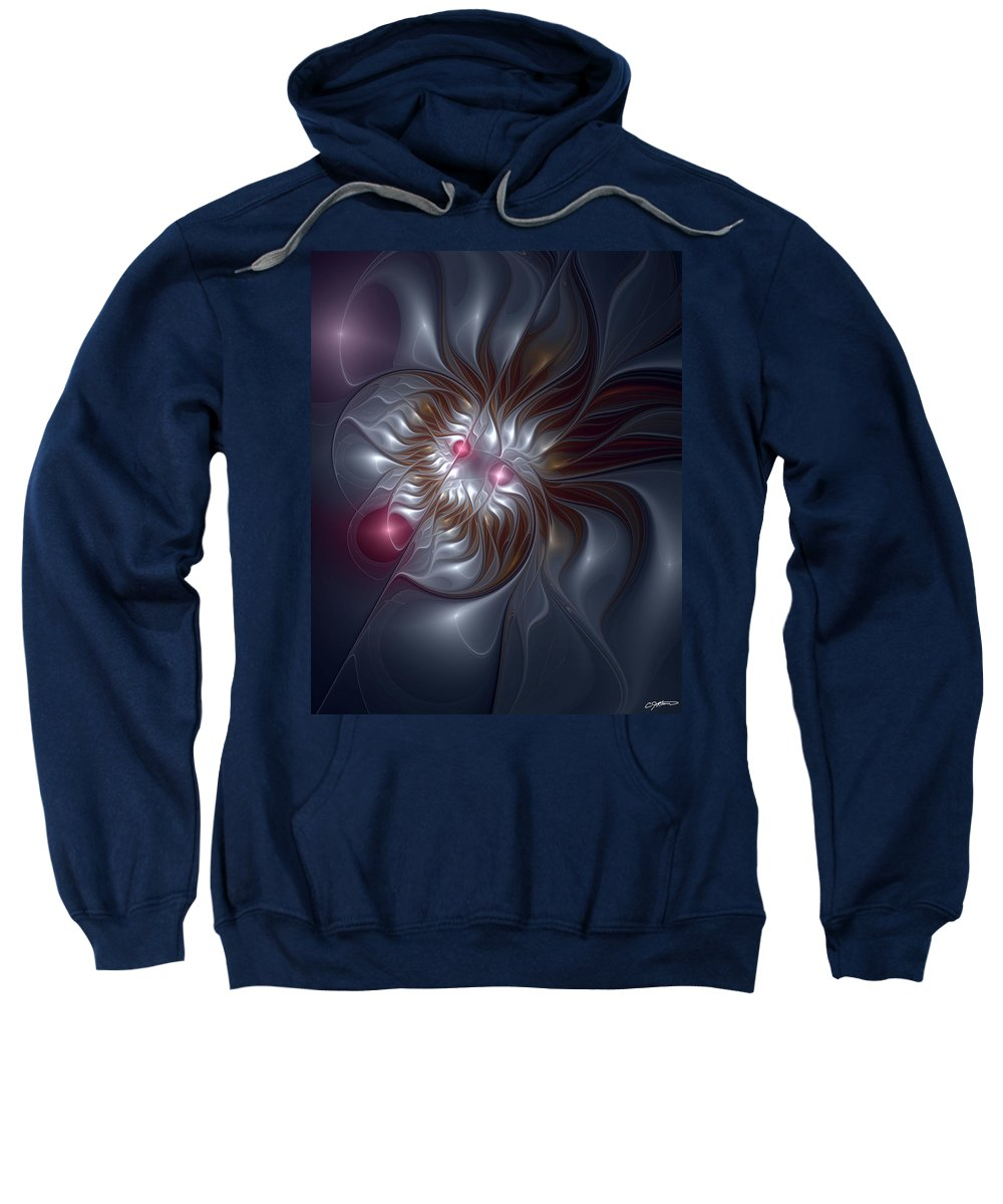 Abstract Sweatshirt featuring the digital art Evanescing Emanations by Casey Kotas