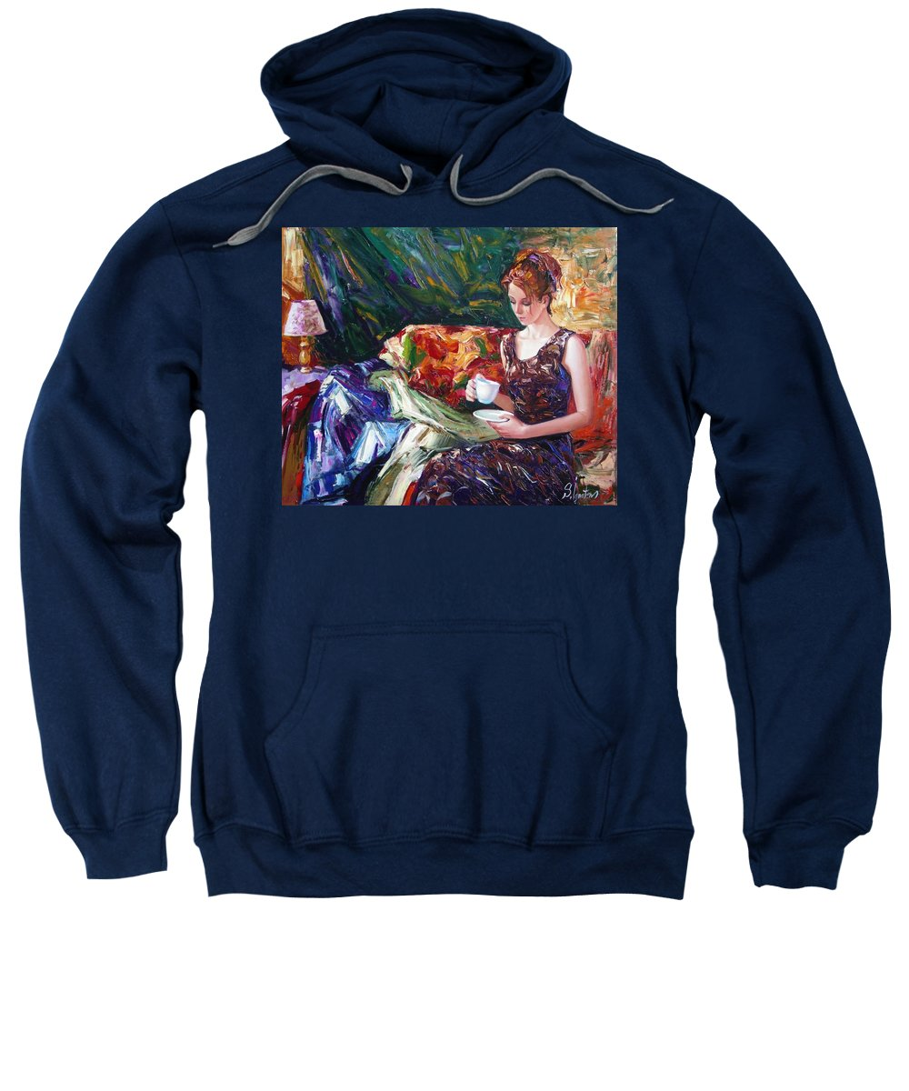 Figurative Sweatshirt featuring the painting Evening Coffee by Sergey Ignatenko