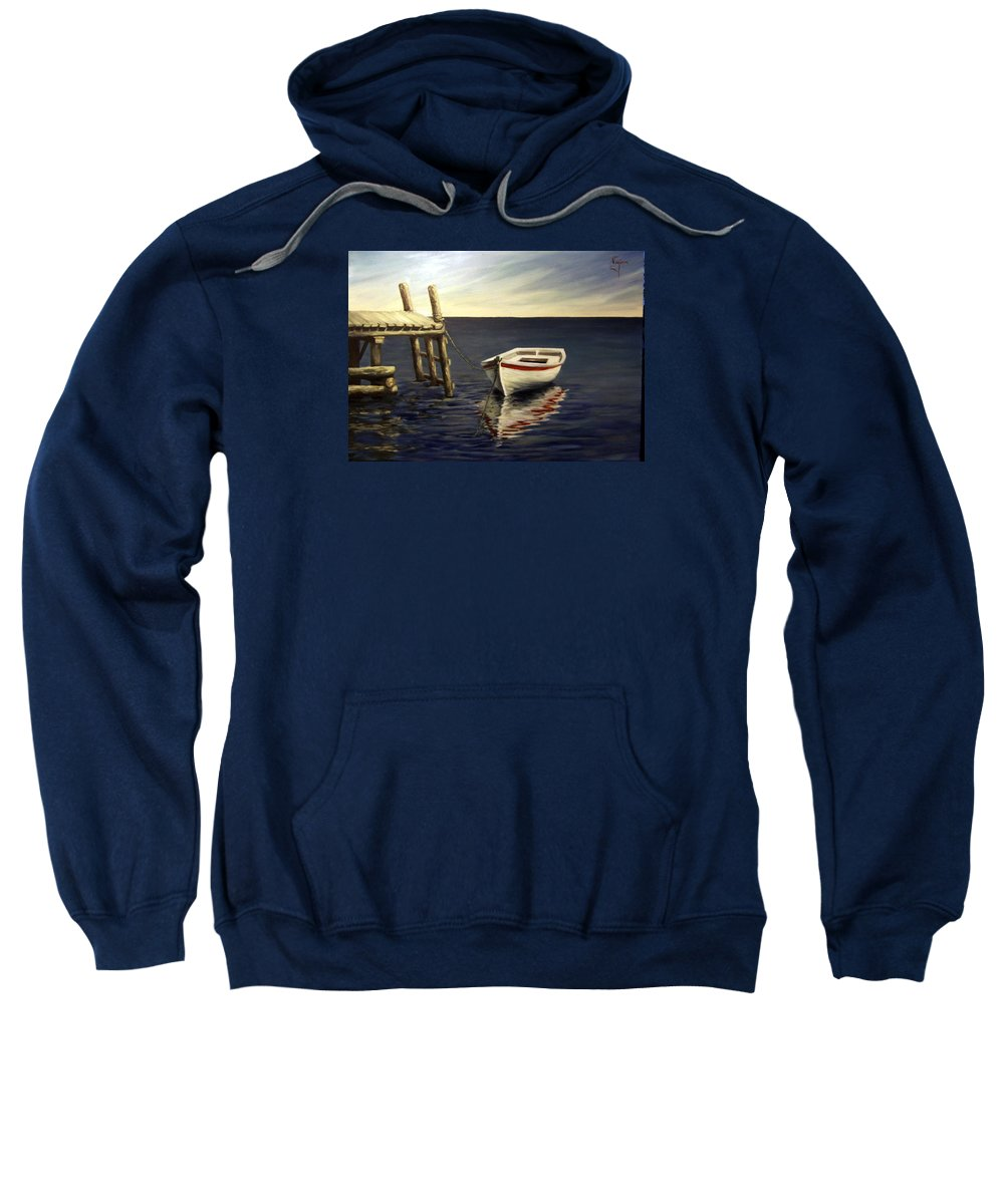 Sea Water Reflection Boat Seascape Coast Evening Dawn Marine Sweatshirt featuring the painting Evening Sea by Natalia Tejera