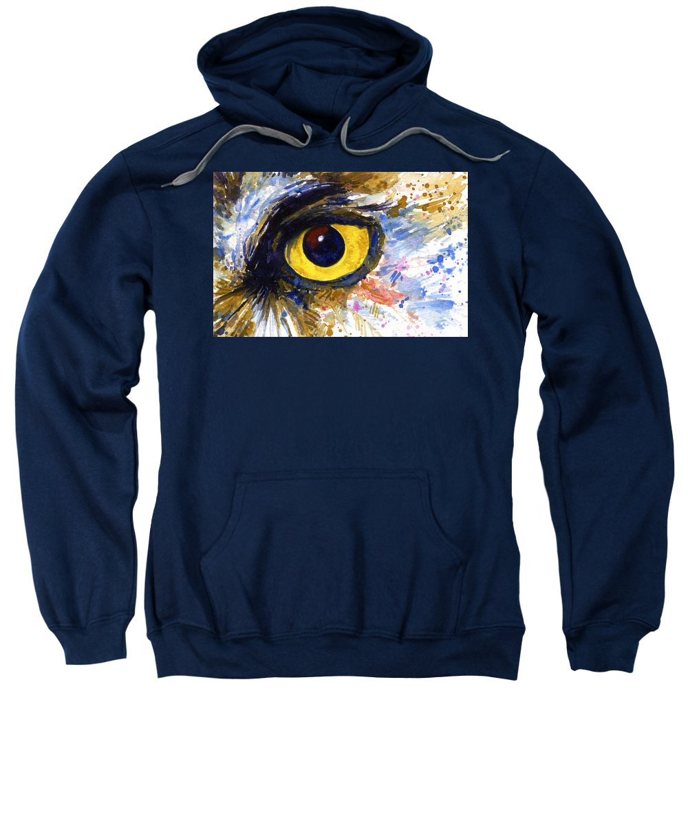 Owls Sweatshirt featuring the painting Eyes Of Owl's No.6 by John D Benson