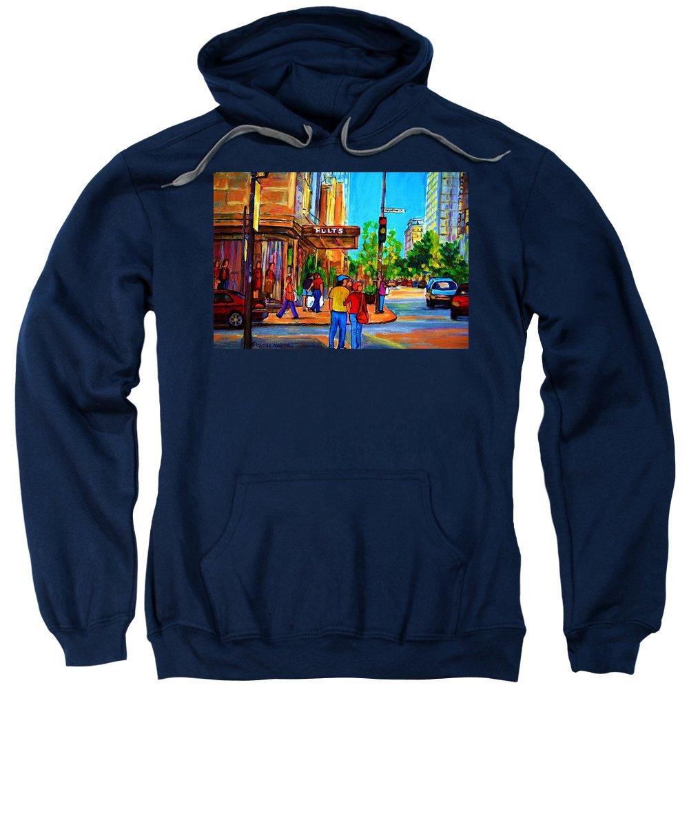 Holt Renfrew Sweatshirt featuring the painting Fashionable Holt Renfrew by Carole Spandau