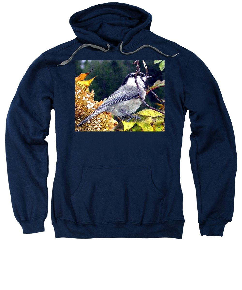 Autumn Sweatshirt featuring the photograph Feast For A Chickadee by Will Borden