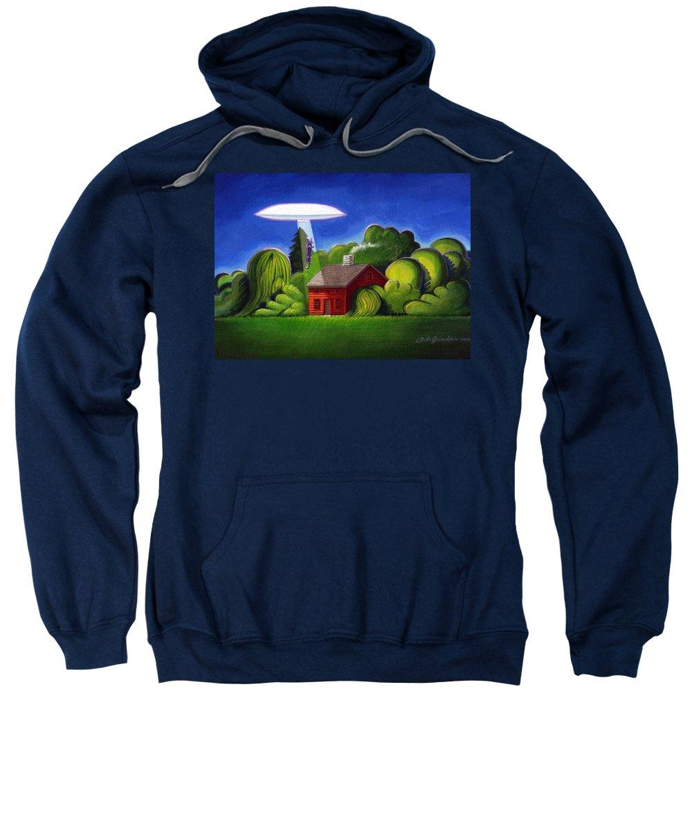 Deecken Sweatshirt featuring the painting Feline Ufo Abduction by John Deecken