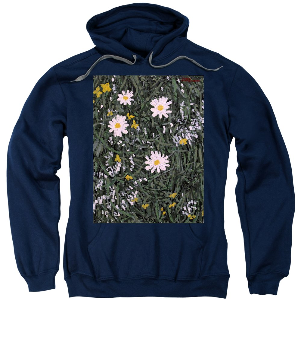 Daisies Sweatshirt featuring the painting Field Daisies by Ian MacDonald