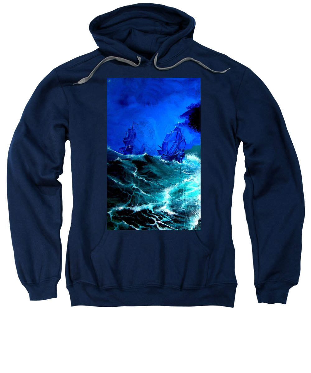 Seascape Sweatshirt featuring the painting Fight For Life by Glory Fraulein Wolfe