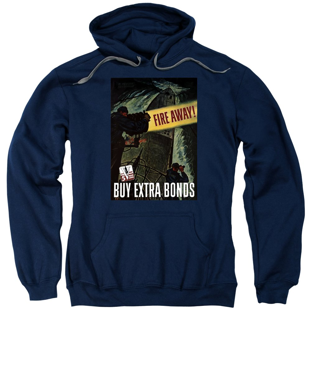 Navy Sweatshirt featuring the painting Fire Away by War Is Hell Store