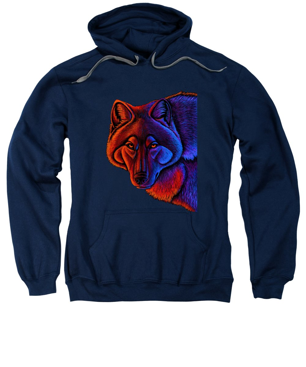 Wolf Sweatshirt featuring the drawing Fire Wolf by Rebecca Wang