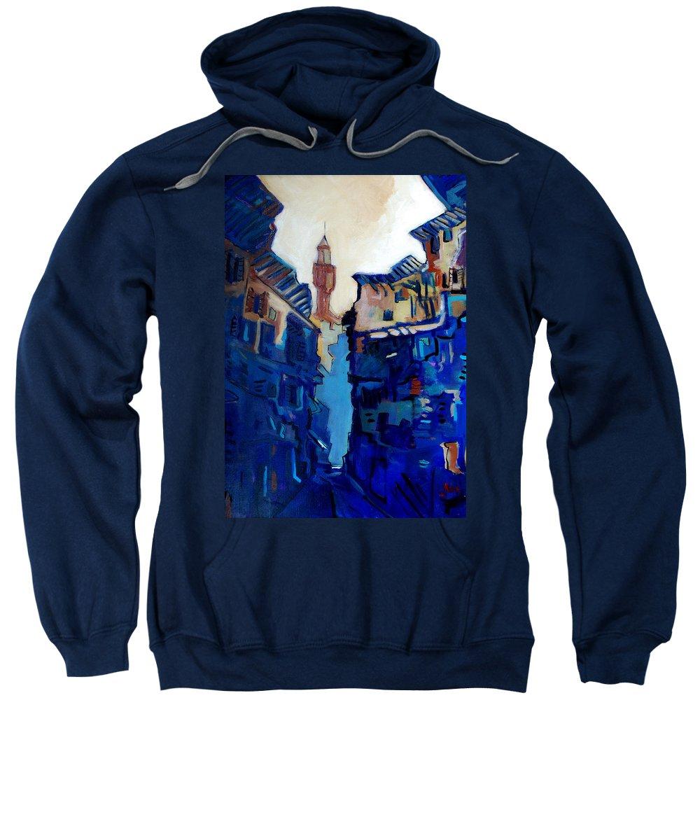 Florence Sweatshirt featuring the painting Firenze Street Study by Kurt Hausmann