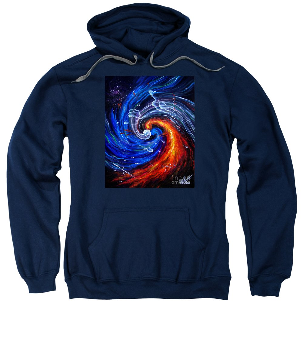 Esoteric Sweatshirt featuring the painting Firestorm Dancing With The Wind by Sofia Metal Queen