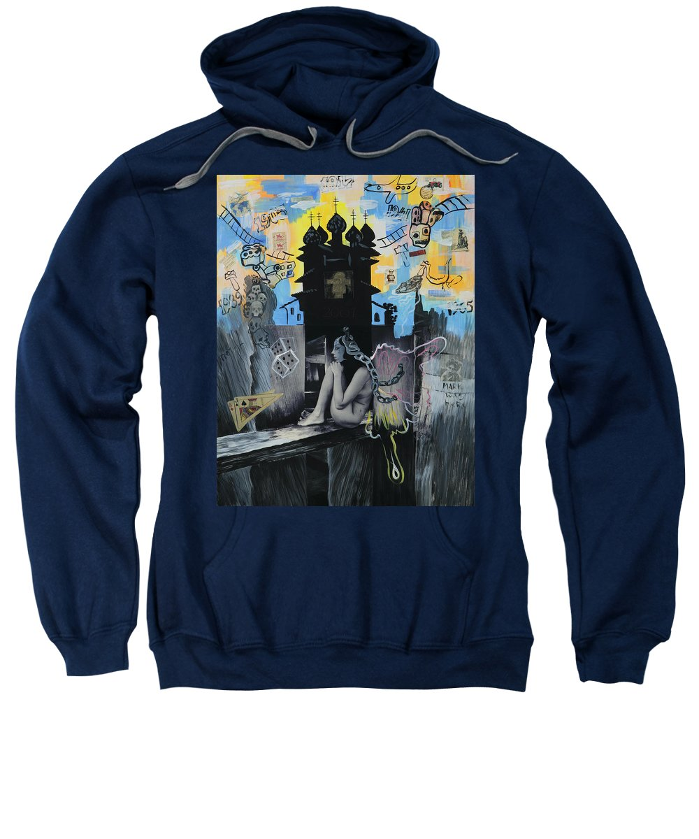 Surreal Sweatshirt featuring the painting First Butterfly by Yelena Tylkina