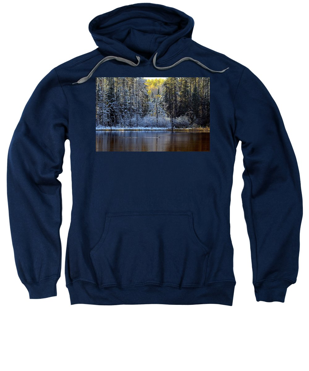 Canada Sweatshirt featuring the photograph First Snow by Doug Gibbons