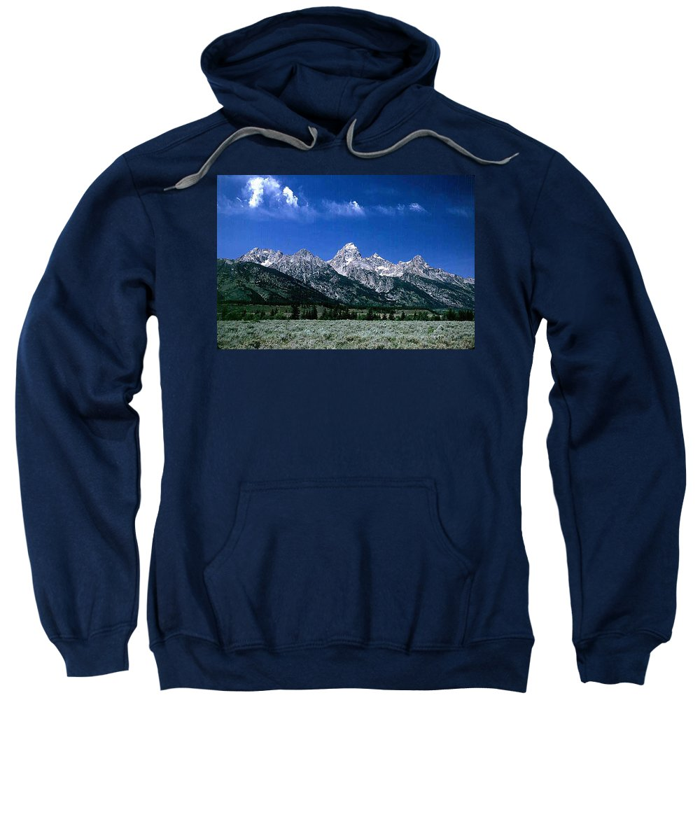 Mountains Sweatshirt featuring the photograph First View Of Tetons by Kathy McClure