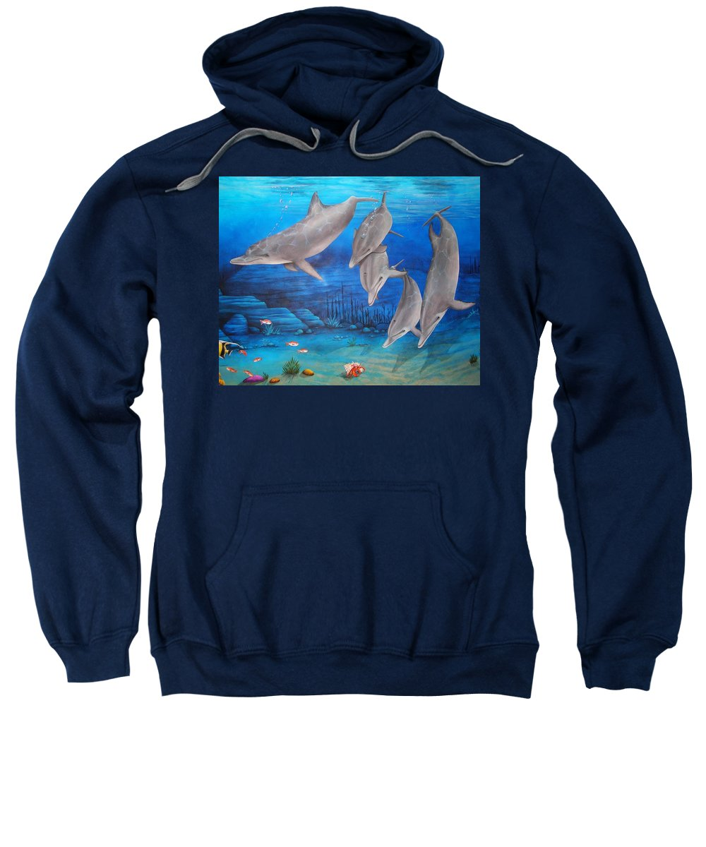 Dolphin Sweatshirt featuring the painting Five Friends by Cindy D Chinn
