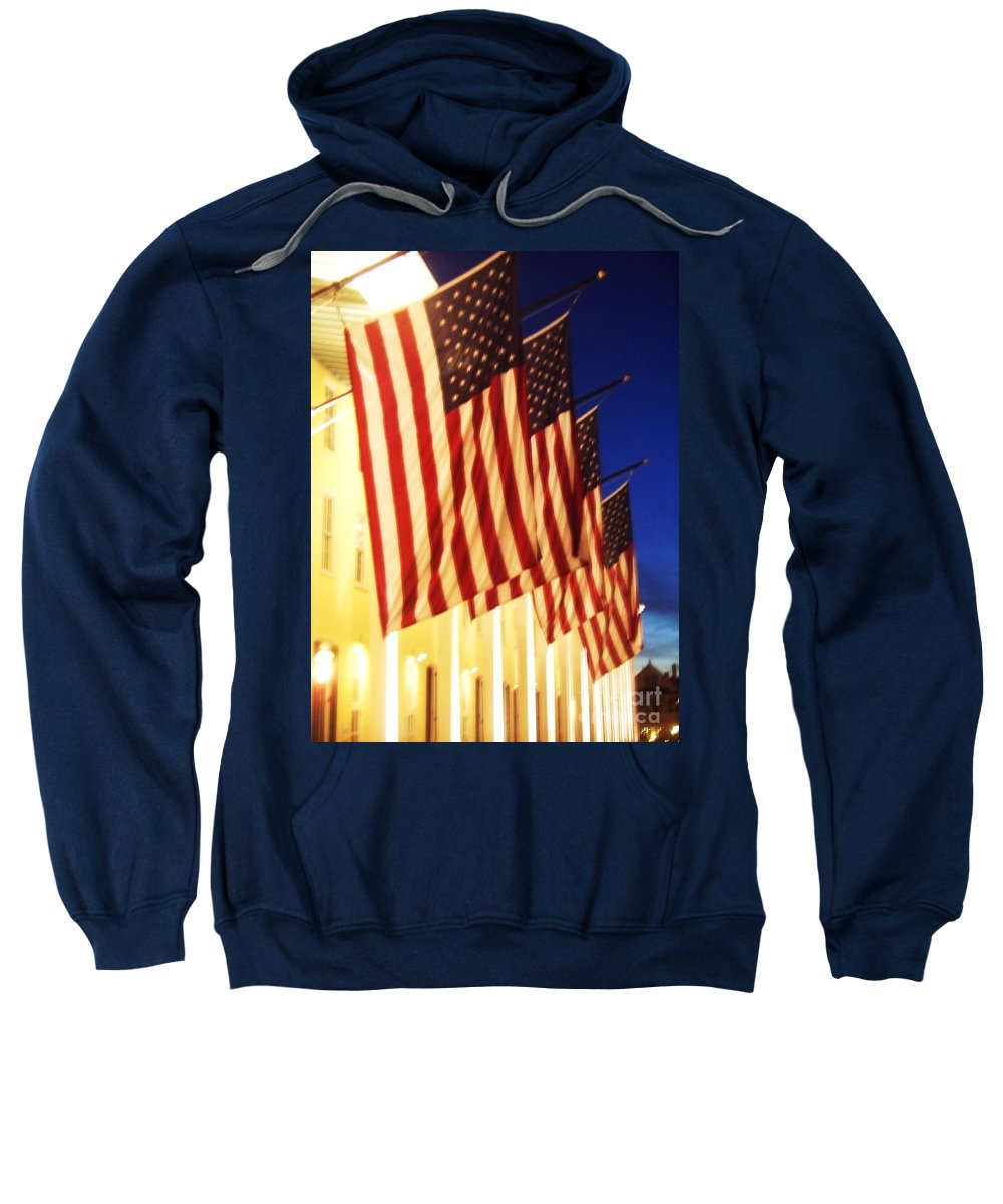 Congress Hall Sweatshirt featuring the photograph Flag Congress Hall Cape May Nj by Eric Schiabor