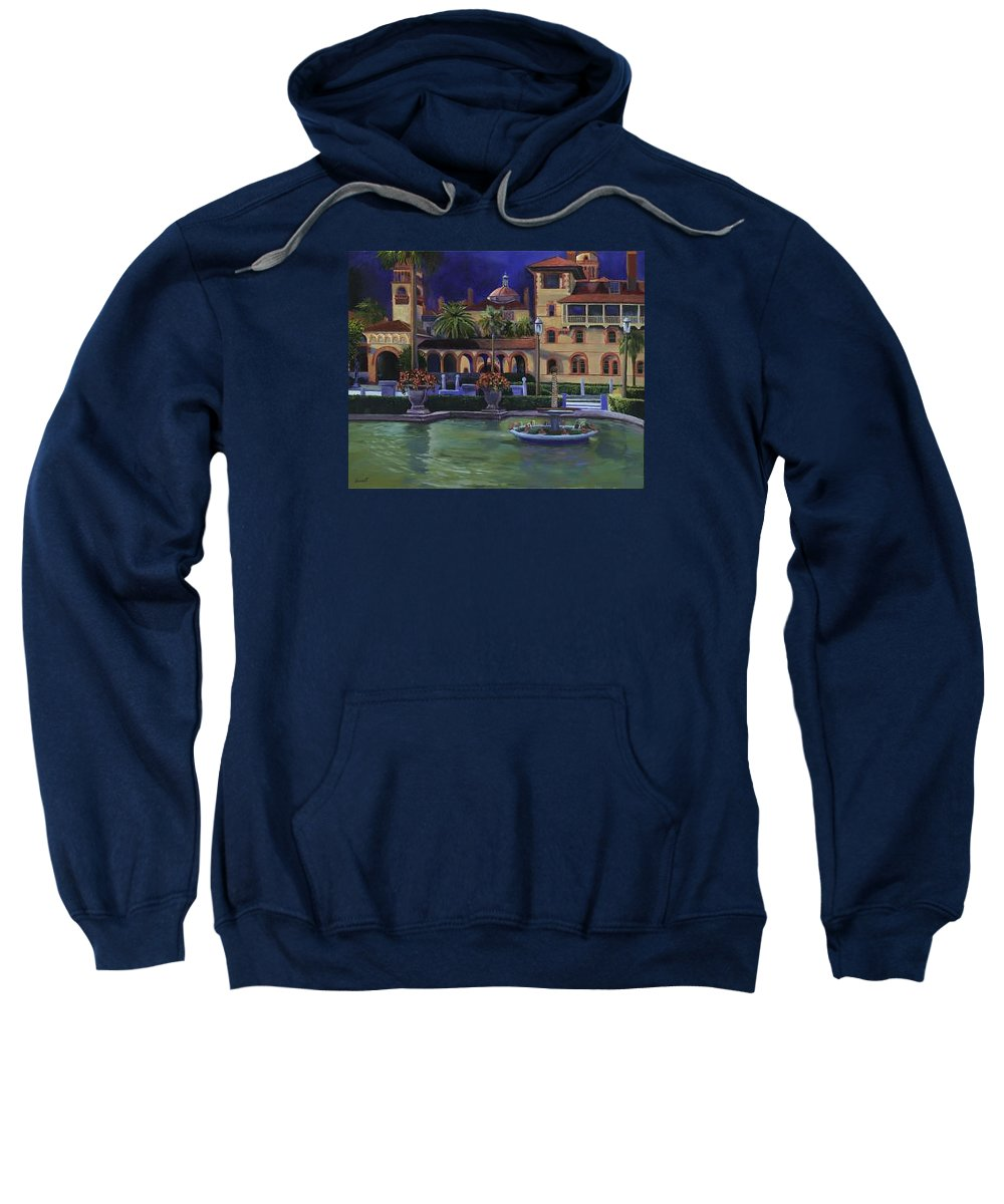 St. Augustine\'s Flagler College Campus Sweatshirt featuring the painting Flagler College II by Christine Cousart