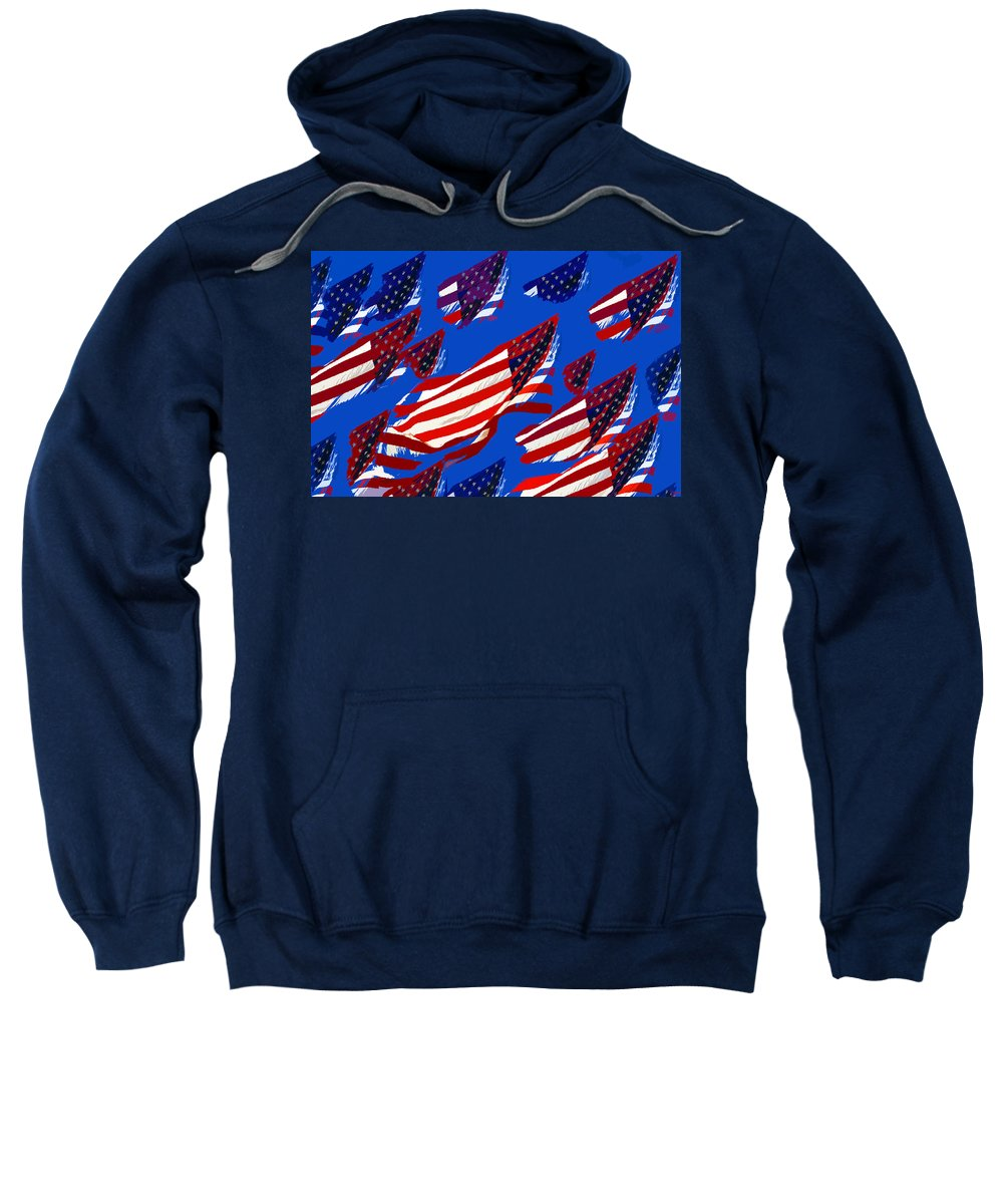 Art Sweatshirt featuring the painting Flags American by David Lee Thompson