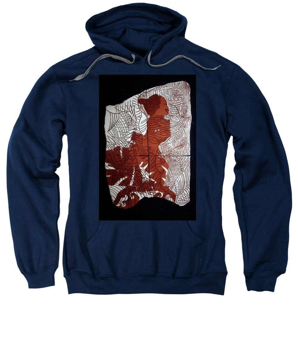 Mama Africa Twomama Africa Twojesus Sweatshirt featuring the ceramic art Flamenco Lady Two by Gloria Ssali