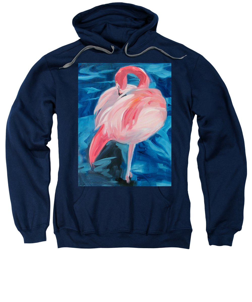 Tropical Sweatshirt featuring the painting Flamingo by Neal Smith-Willow