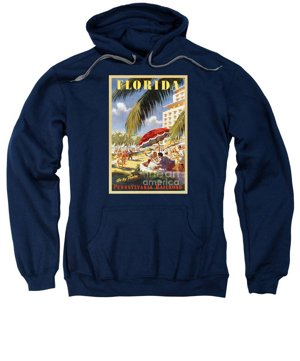 Vintage Sweatshirt featuring the painting Florida-pennsylvania Railroad by Nostalgic Prints