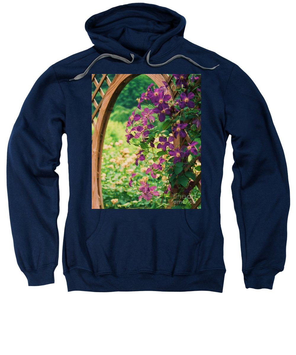 Floral Sweatshirt featuring the painting Flowers On Vine by Eric Schiabor