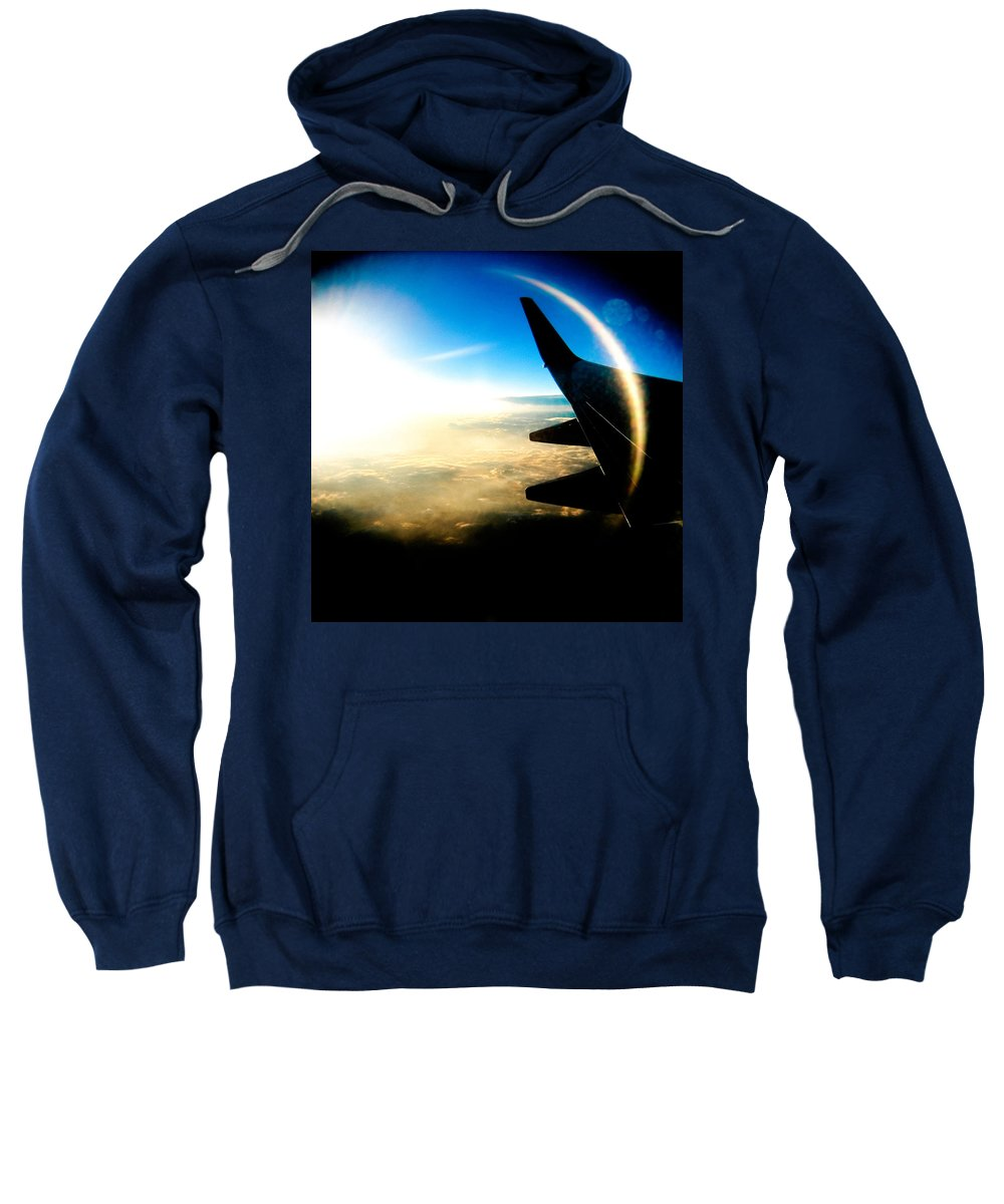Plane Sky Sun Holga Color Photograph Sweatshirt featuring the photograph Fly Like A Dolphin by Olivier De Rycke