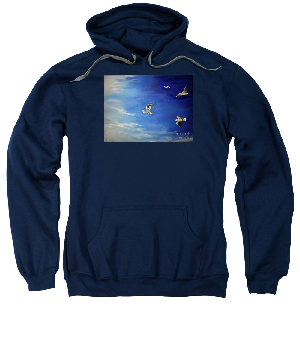 Seagulls Sweatshirt featuring the painting Flying Seagulls by Silvana Miroslava Albano