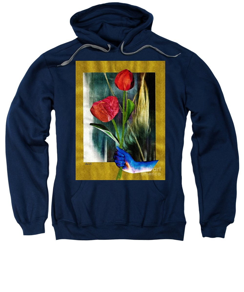 Hand Sweatshirt featuring the mixed media For You by Sarah Loft