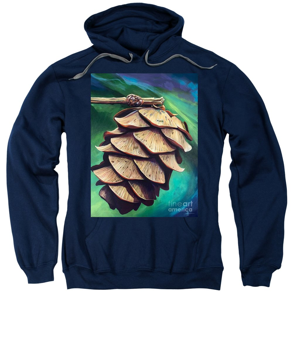 Pinecone Sweatshirt featuring the painting Forest Fantasy by Hunter Jay