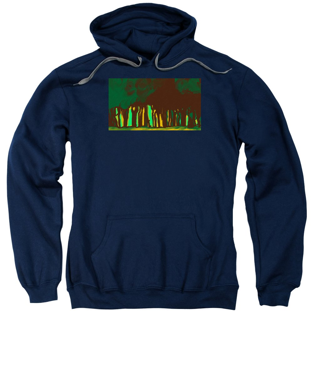 Digital Art Sweatshirt featuring the painting Forest In The Hidden by Katey Love
