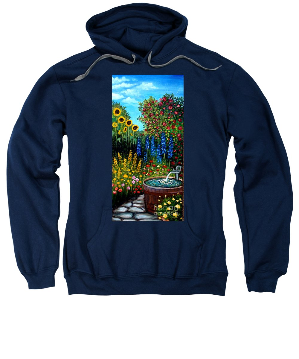 Oil Sweatshirt featuring the painting Fountain Of Flowers by Elizabeth Robinette Tyndall