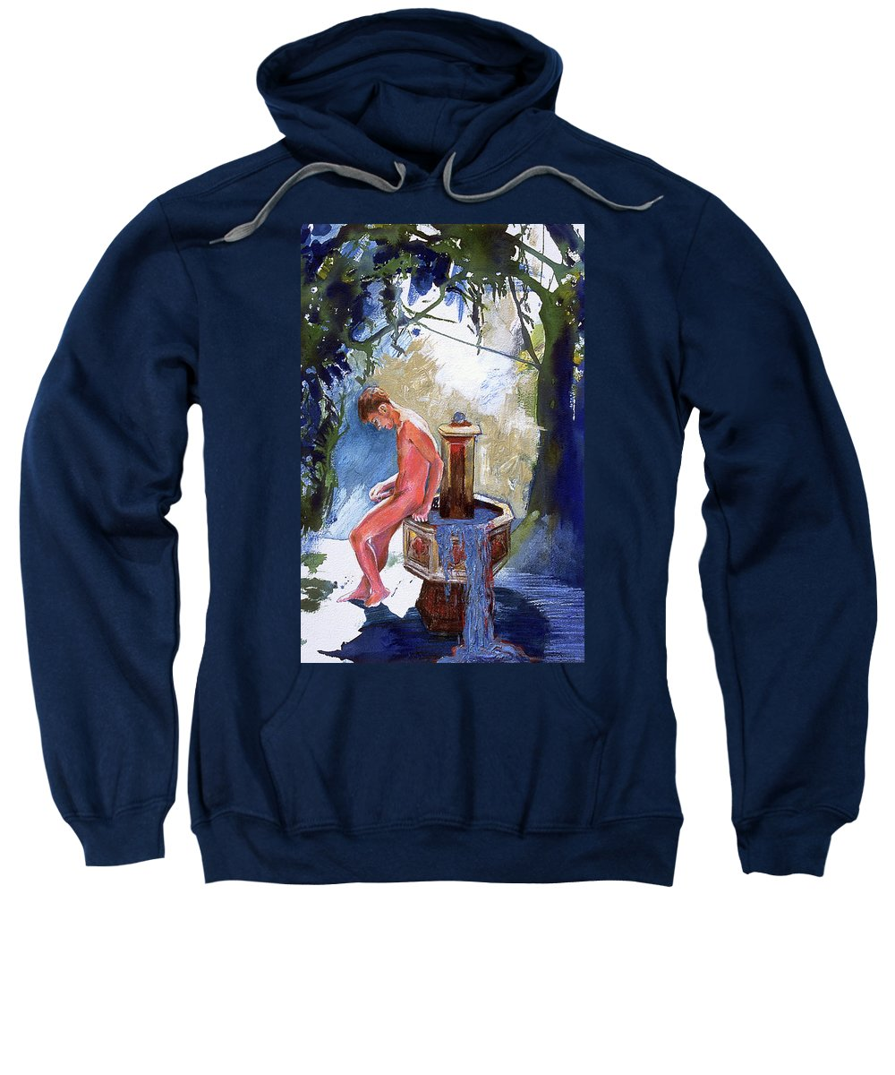 Naked Boy Sweatshirt featuring the painting Fountain by Rene Capone