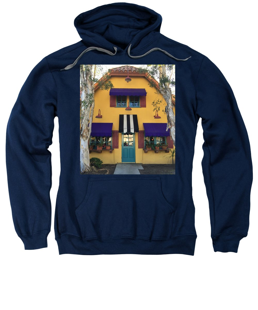 Mustard Yellow Blk/white Purple Trees Aquq Awning Planter Boxes Sweatshirt featuring the photograph French Delectables by Peggy Stokes