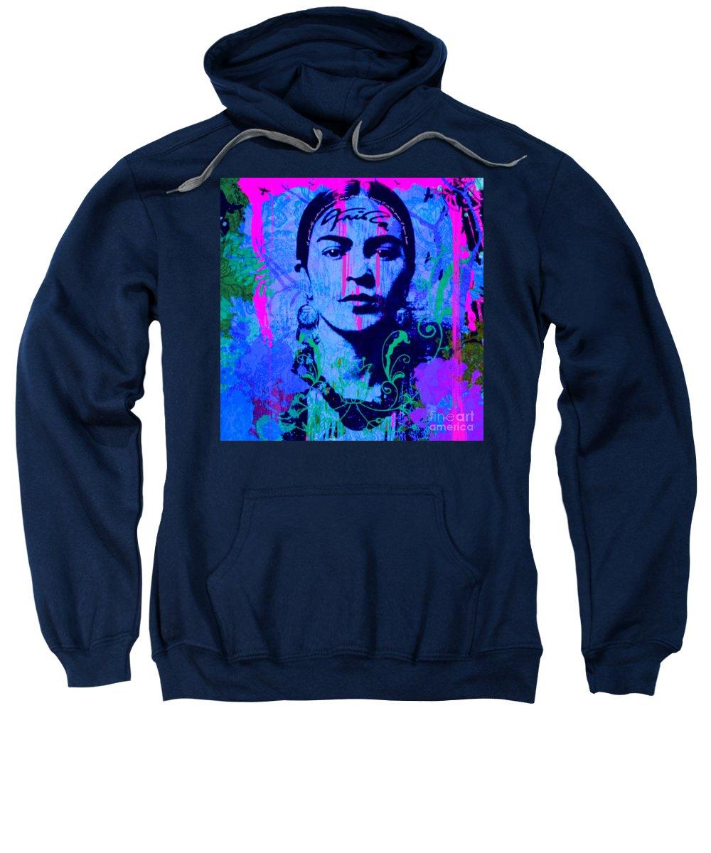Frida Kahlo Sweatshirt featuring the painting Frida Kahlo Street Pop Art No.1 by Felix Von Altersheim