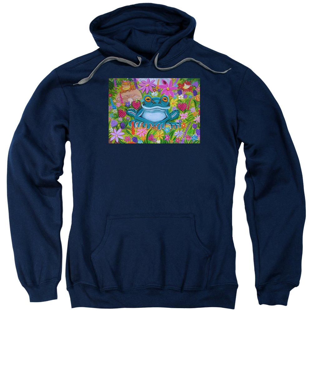 Frog Sweatshirt featuring the painting Frogs And Flowers by Nick Gustafson