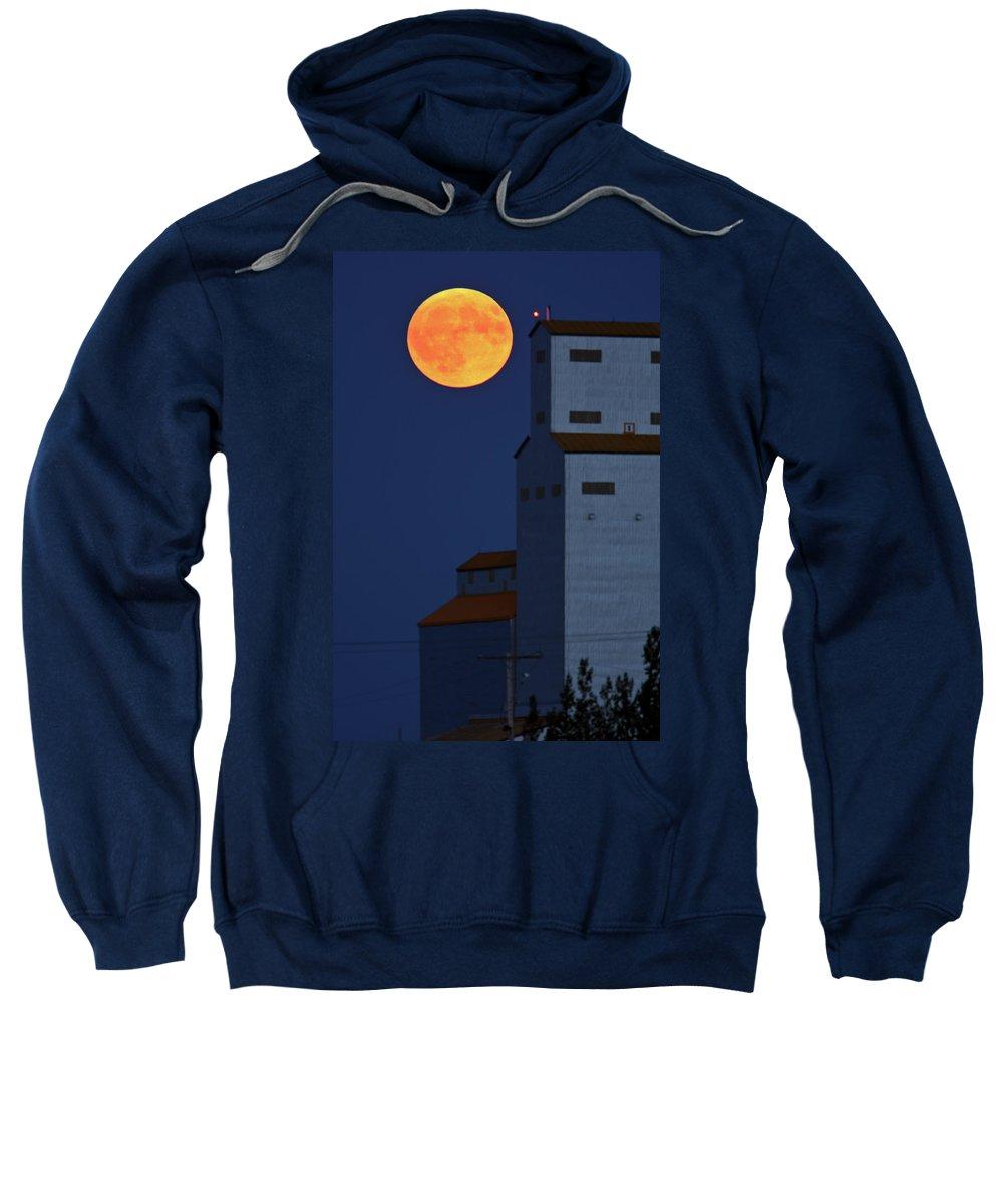 Full Moon Sweatshirt featuring the digital art Full Moon Behind Tuxford Grain Elevator by Mark Duffy