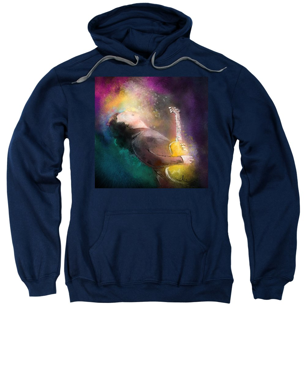 Music Sweatshirt featuring the painting Gary Moore 01 by Miki De Goodaboom